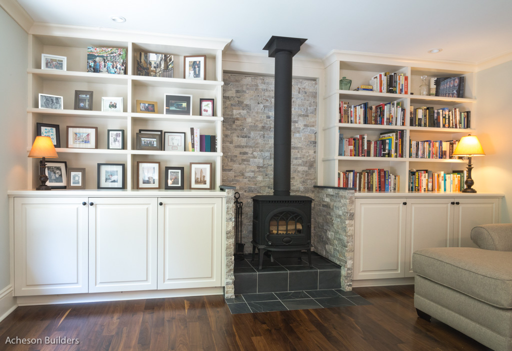 photo of living room built-in cabinets and exposed fireplace box after remodeling by acheson-builders-2nd-Street-Ann-Arbor-AFTER--16