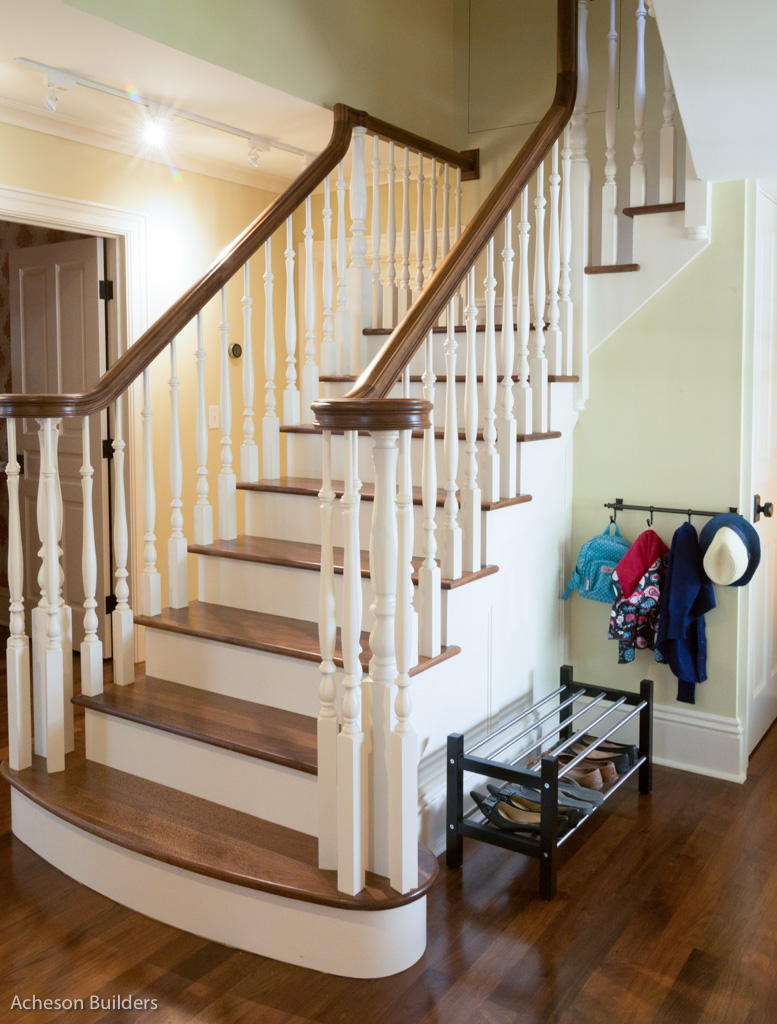 photo of lower portion of section of new staircase to second floor after remodeling by acheson-builders-2nd-Street-Ann-Arbor-AFTER--35