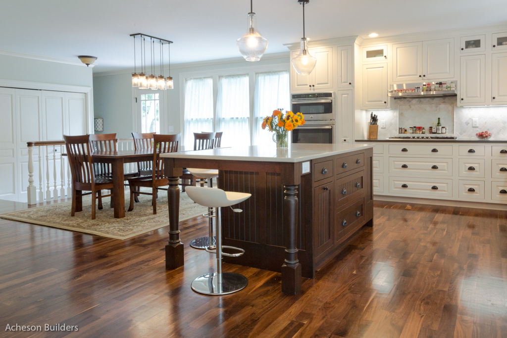 photo of remodeled kitchen open to dining area after remodeling by acheson-builders-2nd-Street-Ann-Arbor-AFTER--7