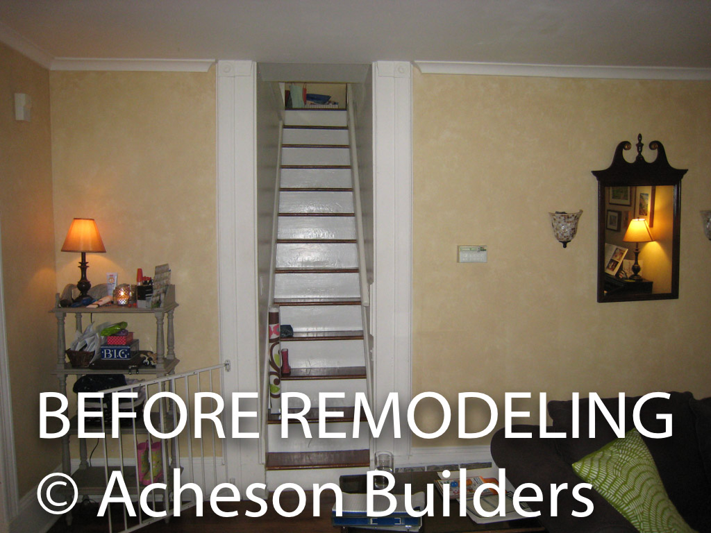 photo of very narrow steep straight stairway from first to second floor before acheson-builders-2nd-Street-Ann-Arbor-BEFORE--5
