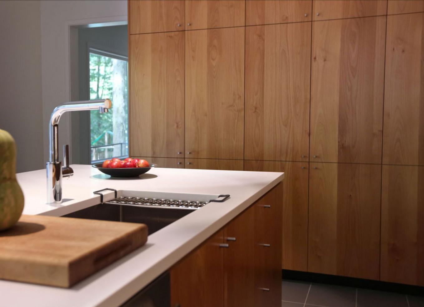 Custom Kitchen Sink and Matching Floor-to-Ceiling Alder Veneer Cabinets