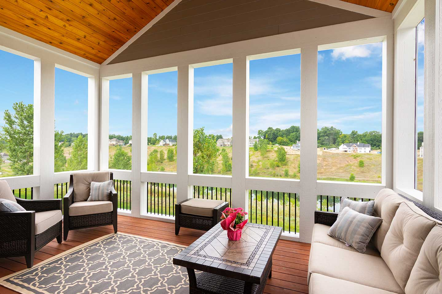photo of indoor-outdoor large square porch with
