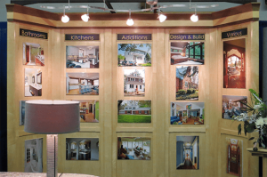 photo of Acheson Builders booth photo wall at the Home, Garden, and Lifestyle Show in Ann Arbor 2015