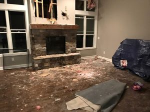 photo of fire-damaged Interior fireplace of Dexter Michigan house - fire began in fireplace chimney