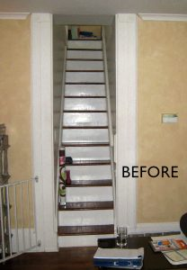 Photo Of Steep Very Narrow Straight Staircase Leading To Second Floor Prior  To Replacement With New