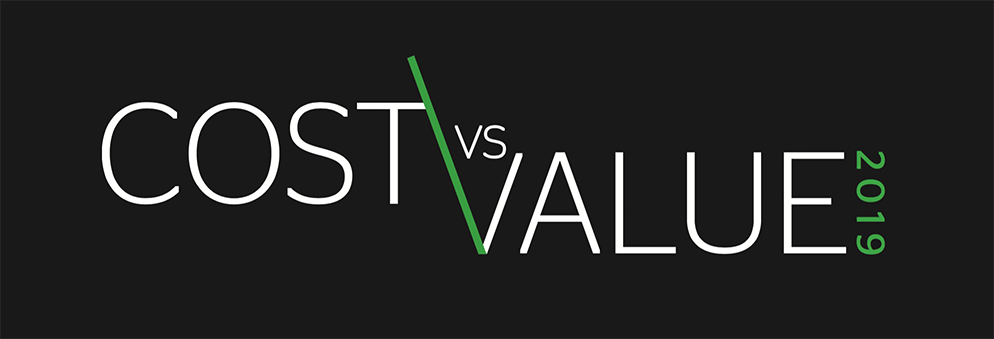 Text and illustration of Cost vs. Value 2019 logo art
